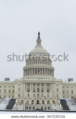 Washington DC in Winter - United States Capitol Building in snow - stock photo