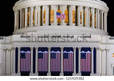 WASHINGTON DC - JANUARY 21:Capitol  seen on night of Inauguration 44th President of USA Barack Obama on January 21 2013 Capitol is meeting place of the US Congress Capitol Construction started in 1793 - stock photo
