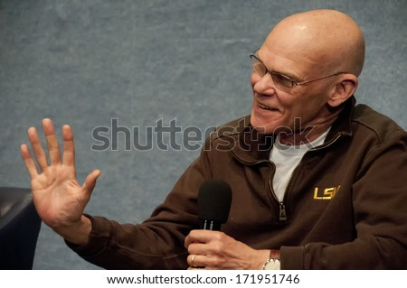 WASHINGTON, DC - JANUARY 11, 2014:  Democratic pundit and media personality James Carville speaks in a book talk at the National Press Club - stock photo