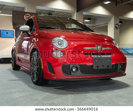 WASHINGTON, DC - JANUARY 21, 2016: Fiat 500 Abarth car at the Washington, D.C. Auto Show (WAS), one of the largest auto shows in North America.