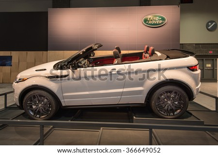 WASHINGTON, DC - JANUARY 21, 2016: Land Rover Range Rover Evoque at the Washington, D.C. Auto Show (WAS), one of the largest auto shows in North America. - stock photo