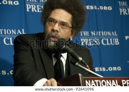 WASHINGTON, DC - JANUARY 12: Philosopher, author, social critic and civil rights activist Cornel West speaks at a press conference at the National Press Club, January 12, 2012, in Washington, DC - stock photo