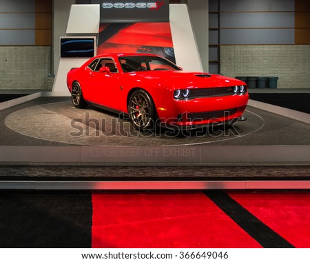 WASHINGTON, DC - JANUARY 21, 2016: SRT (Dodge) Challenger Hellcat car at the Washington, D.C. Auto Show (WAS), one of the largest auto shows in North America. - stock photo
