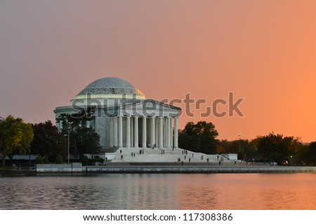Washington DC, Jefferson Memorial at sunset