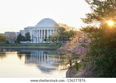 Washington DC, Jefferson Memorial during cherry blossom festival - stock photo