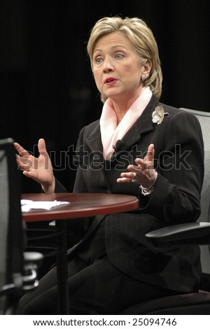 WASHINGTON, DC - JUNE 4: Hillary Clinton answers questions during CNN and Sojourners' forum on faith, values, and poverty on June 4, 2007.