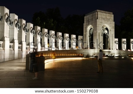 WASHINGTON, DC-JUNE 22: World War Memorial II  at Night on June 22 2013 in Washington,DC USA. People from all over the world come to visit, it is dedicated to Americans who served in the armed forces.