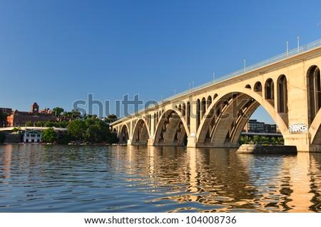 Washington DC - Key Bridge on Potomac River - stock photo