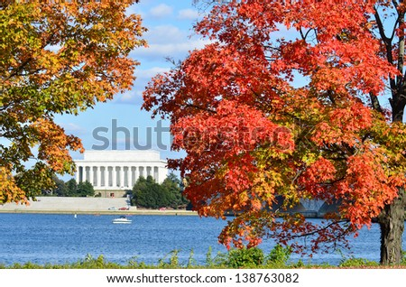 Washington DC, Lincoln Memorial in Autumn - stock photo