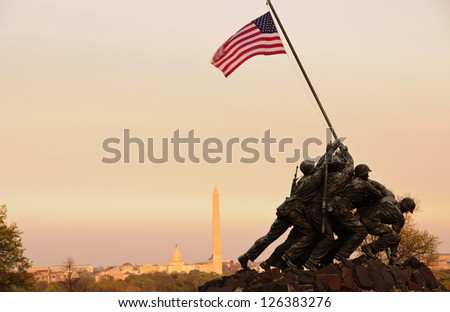 WASHINGTON, DC - MARCH 20: Iwo Jima Memorial in Washington, DC on March 20, 2012. The Memorial honors the Marines who have died defending the US since 1775. - stock photo