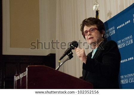 WASHINGTON, DC-MAY 9: Retired professional tennis star Billie Jean King speaks to a luncheon at the National Press Club, May 9, 2012 in Washington, DC - stock photo