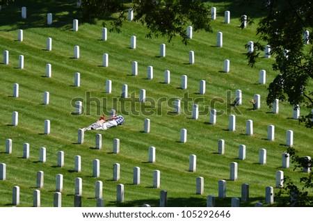 Washington DC - Mourning in Arlington National Cemetery - stock photo