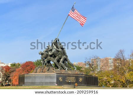 WASHINGTON, DC - NOVEMBER 12, 2013: Iwo Jima Memorial in Washington, DC. The Memorial honors the Marines who have died defending the US since 1775 and a prominent tourist attraction in Washington DC.  - stock photo