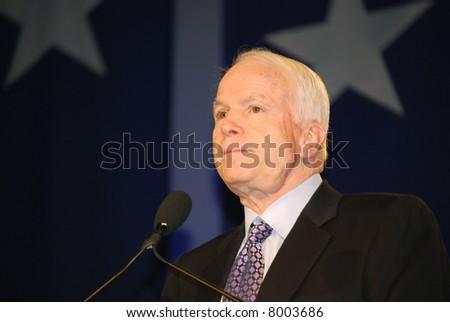 "WASHINGTON DC – OCT 19: Senator John McCain speaking at ""Washington Briefing 2007: Values Voter Summit"" on October 19, 2007, at the Hilton Hotel in downtown Washington DC. - stock photo"