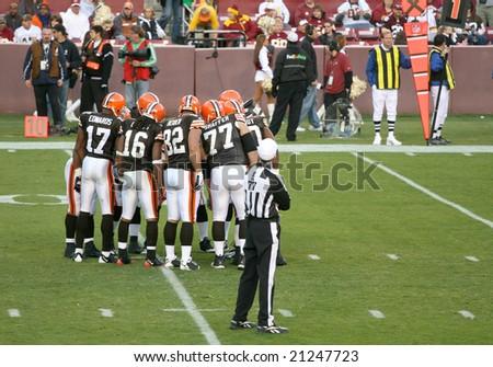 Washington, DC - October 19: Cleveland Browns defending against Washington Redskins at Fedex Stadium in Washington, DC, on OCtober 19, 2008. Redskins won 14-11 - stock photo