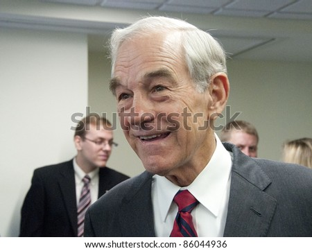 WASHINGTON, DC - OCTOBER 5:  Congressman Ron Paul (R-Texas), candidate for Republican Presidential nomination, meets with luncheon guests at the National Press Club, October 5, 2011 in Washington, DC - stock photo