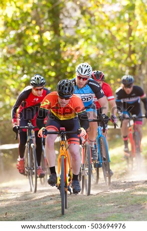 WASHINGTON DC - OCTOBER 22: Cyclists compete at the DC cyclocross competition on October 22, 2016 in Washington, DC