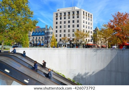 WASHINGTON,DC - OCTOBER 24: Dupont Circle Metro Station on October 24, 2015 in Washington, DC USA. One of the most busy metro stations in Washington, DC. - stock photo