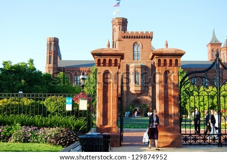 WASHINGTON, DC-OCTOBER 21: Smithsonian Castle Garden on October 21, 2012 in Washington DC,USA. Famous attraction in Washington DC, and people from all over the world come to visit - stock photo