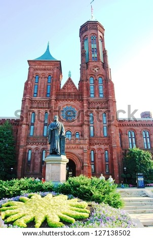 WASHINGTON, DC - OCTOBER 21: Smithsonian Castle on October 21, 2012 in Washington DC,USA.Smithsonian Castle is a famous attraction in Washington DC, and people from all over the world come to visit - stock photo