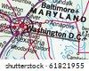 Washington DC on a map closeup - stock photo