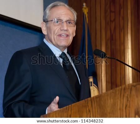 WASHINGTON, DC - SEPT. 21: Washington Post investigative reporter Bob Woodward speaks at a dinner at the National Press Club, September 21, 2012 in Washington, DC - stock photo