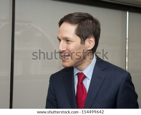 WASHINGTON, DC - SEPTEMBER 10: Dr. Thomas Frieden, Director of the Centers for Disease Control and Prevention speaks to the National Press Club, September 10, 2013 in Washington, DC  - stock photo