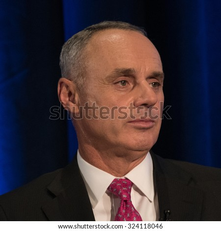 WASHINGTON, DC - SEPTEMBER 28, 2015: Rob Manfred, Commissioner of Major League Baseball, is interviewed by legendary journalist Marvin Kalb at the National Press Club in Washington, DC - stock photo