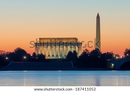 Washington DC skyline at sunrise including Lincoln Memorial and Washington Monument  - stock photo