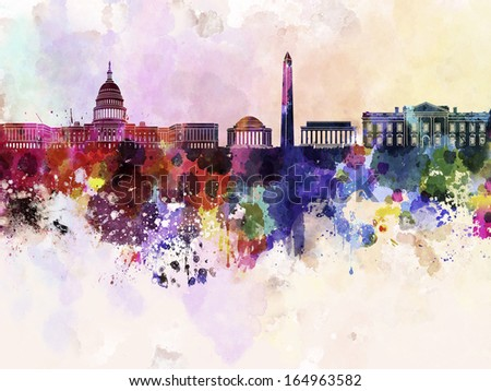 Washington DC skyline in watercolor background  - stock photo