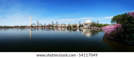 Washington DC skyline panorama with Washington monument and Thomas Jefferson memorial. - stock photo