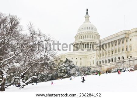 Washington DC - The Capitol Buildin in snow - stock photo
