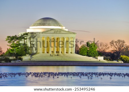 Washington DC - Thomas Jefferson Memorial and seagulls on frosted lake at night - United States of America  - stock photo