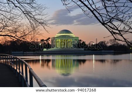 Washington DC, Thomas Jefferson Memorial at sunrise - United States - stock photo