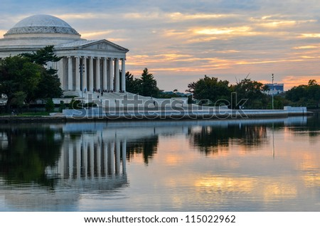 Washington DC, Thomas Jefferson Memorial at sunset - stock photo