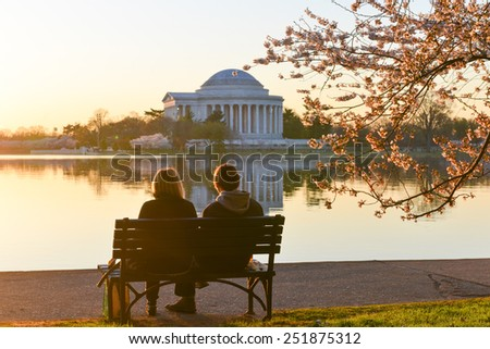 Washington DC - Thomas Jefferson Memorial during Cherry Blossom Festival at Tidal Basin.  - stock photo