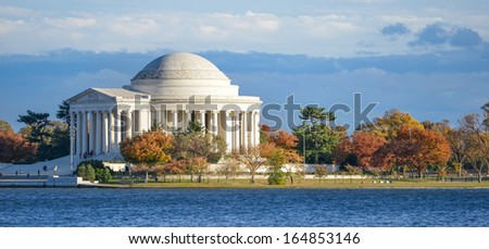 Washington DC, Thomas Jefferson Memorial in Autumn  - stock photo