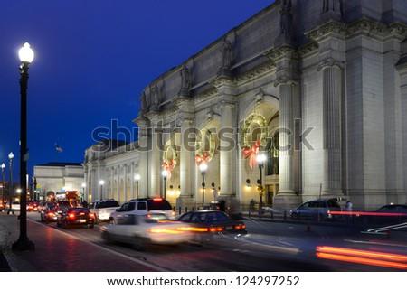 Washington DC, Union Station at night - stock photo