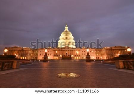 Washington DC, United States Capitol Building east facade at night - stock photo