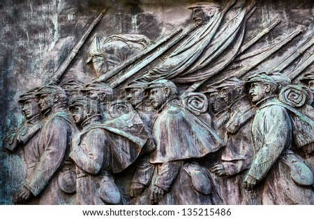 WASHINGTON DC, UNITED STATES--SEPTEMBER 30, : Union Soldiers Charging Ulysses US Grant Civil War Memorial on Capitol Hill in Washington DC on September 30, 2012.  Created by Henry Shrady in 1922. - stock photo