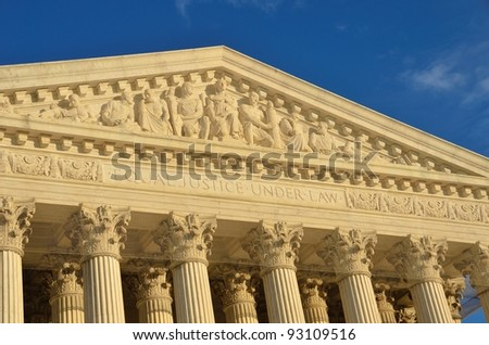 Washington, DC, United States Supreme Court building facade detail - stock photo
