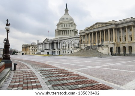 Washington DC, US Capitol building east facade - stock photo