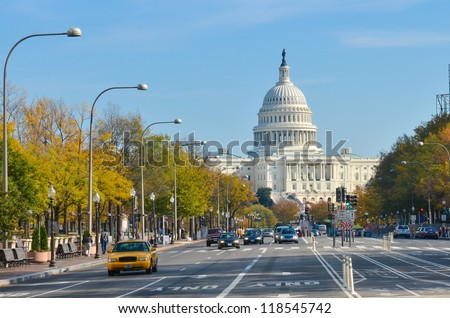 Washington DC - US Capitol building from Pennsylvania Avenue - stock photo