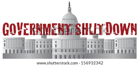 Washington DC US Capitol Building Government Shutdown Red Text Outline Raster Illustration - stock photo