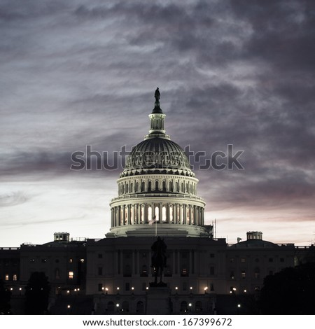 Washington DC, US Capitol Building in a cloudy sunrise  - stock photo