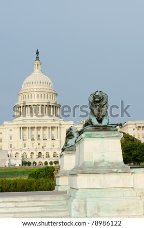 Washington DC - US Capitol building lion statue - stock photo