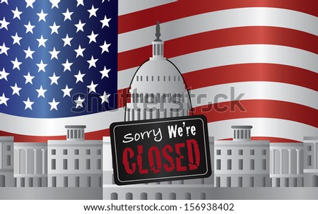Washington DC US Capitol Building with We are Closed Sign on US American Flag Background Raster Illustration - stock photo