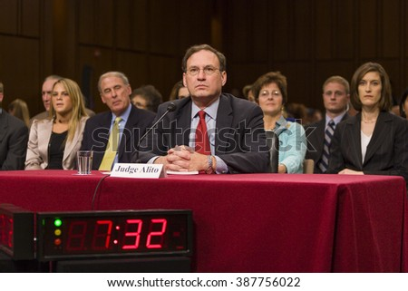 WASHINGTON, DC, USA - JANUARY 6, 2010: Judge Samuel A. Alito Jr., U.S. Supreme Court nominee, during confirmation hearings before the Senate Judiciary Committee. - stock photo