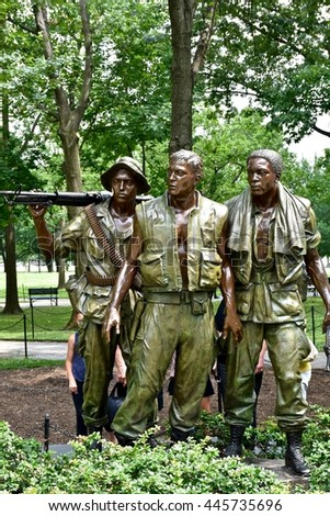 WASHINGTON DC, USA - JUNE 24, 2106: The Vietnam war memorial at the National Mall.