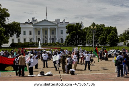 Washington DC, USA - May 30, 2016: Demonstrators on the road in front of the White House